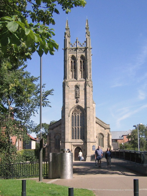 St Marys Church Derby viewed from across bridge
